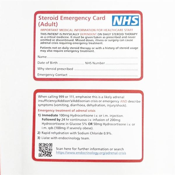 Red Steroid Emergency Card Adult - 1