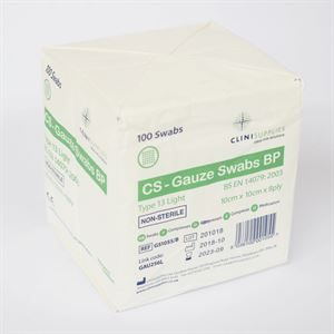 GAUZE SWABS NON-STERILE 8PLY 10CMSQ 100 AHP0330