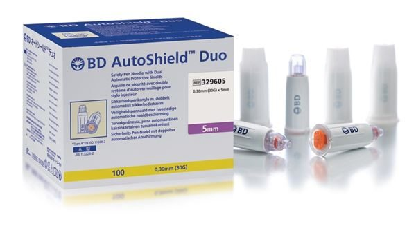 Pack-ASDuo-5mm_Web1 BD AutoShield Duo pen needles 5mm 30g (pack of 100) – 329605 3605615